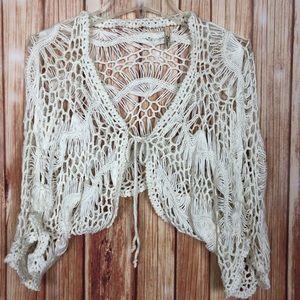 Elan Crochet Knit Cropped Cardigan Sweater (L)